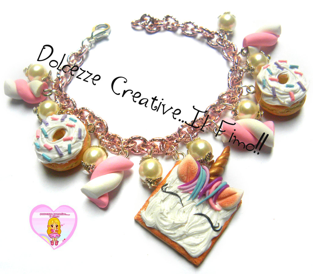Bracciale Marshmallow, donut e cookie unicorno - hanmdade pastello kawaii