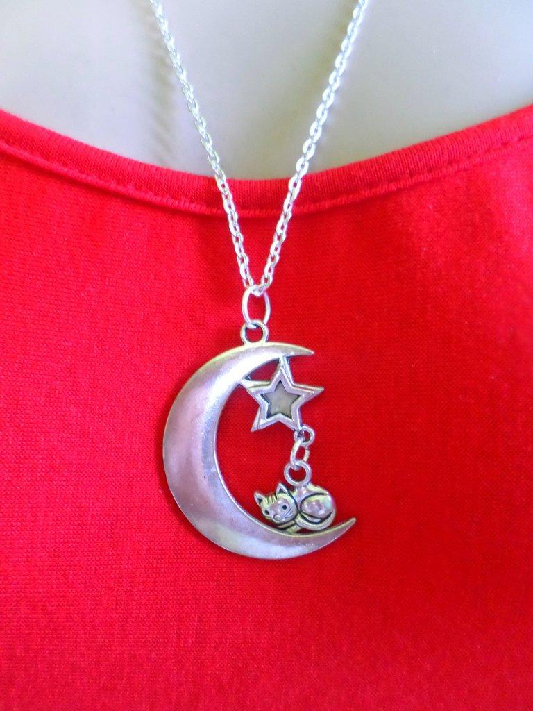 collana ciondolo luna e gatto in acciaio