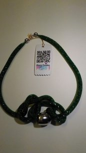 Collana DARK GREEN  cm.100 rete con anello