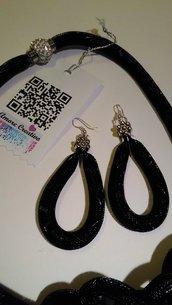 Parure collana - orecchini  BLACK  cm.100 rete