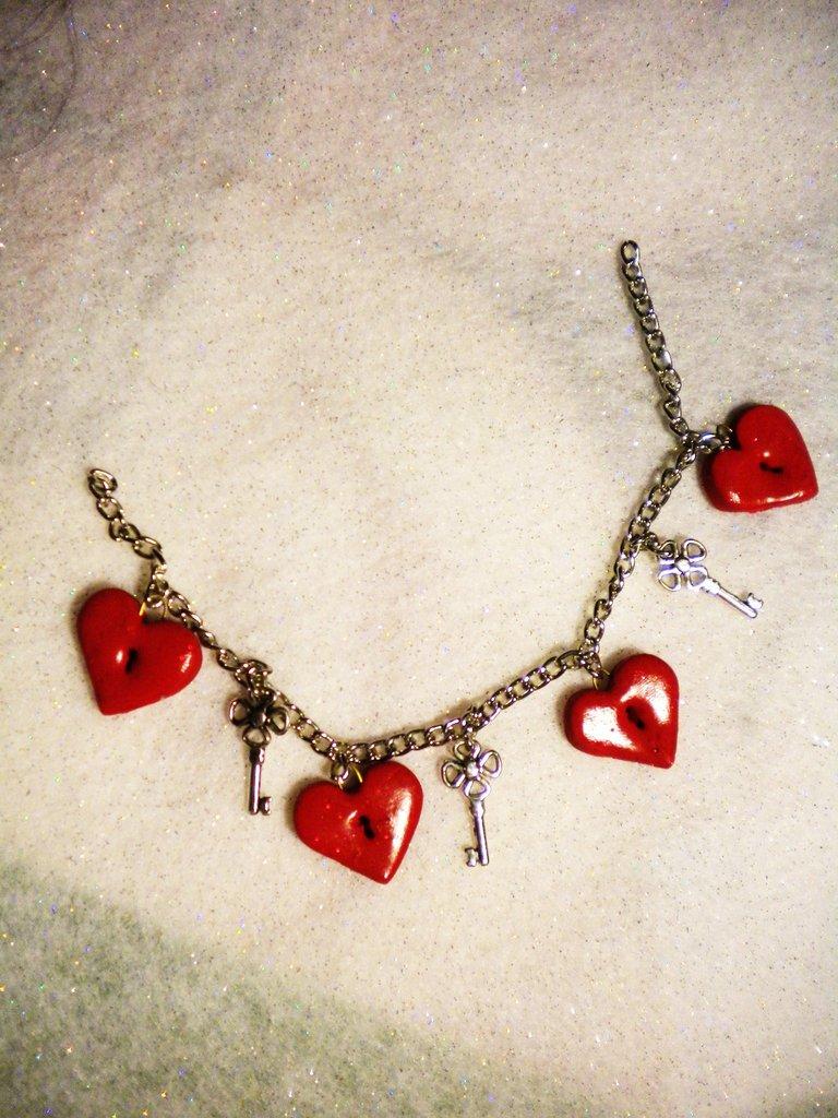 Cuori e chiavi braccialetto