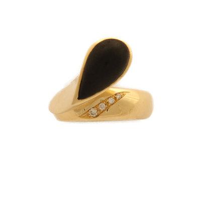 Anello in Oro Giallo Kt 18 con Brillanti e Goccia in Ebano  *Spedizione Gratuita*