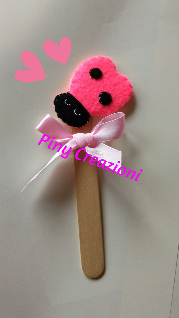 Segnalibro, segnaposto  bomboniera coccinella rosa portafortuna.