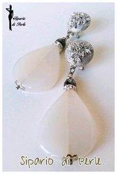 Orecchini in vetro a goccia con strass - Ematite e bianco