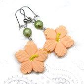Orecchini fiori di ibisco kawaii fimo regalo ragazza donna acciaio