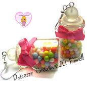 Orecchini bottigliette Caramelle colorate- handmade kawaii