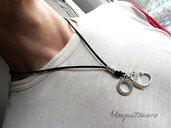 Collana in pelle da uomo nautica con amo uncino in metallo colore argento