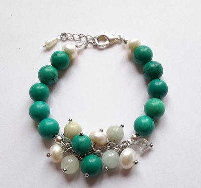 Bracciale con turchese e perle