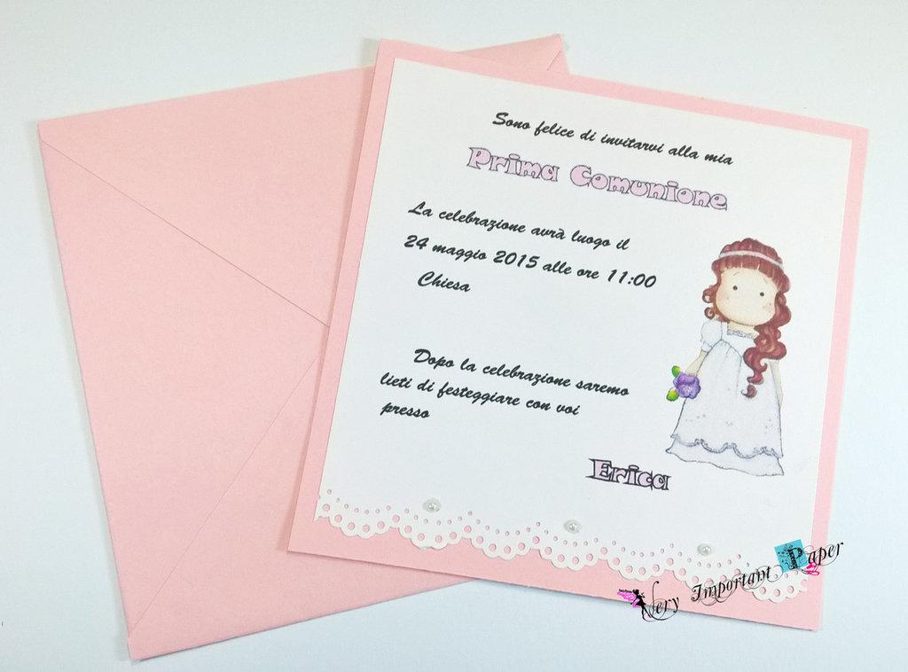 Invito comunione cartolina ragazza