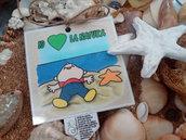 Biglietto d'auguri artigianale: Io amo il mare