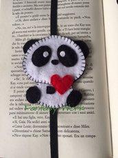Segnalibro panda innamorato, con elastico