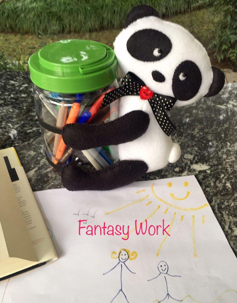 barattolo porta penne con panda in feltro
