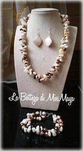 Parure 3 pezzi Autunno Perle e Cristalli (collana, orecchini e bracciale)