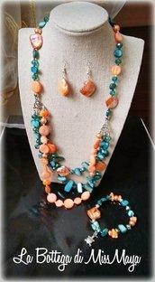 Parure 3 pezzi Smeraldo&Aragosta Perle e Cristalli (collana, orecchini e bracciale)