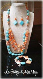 Parure 3 pezzi Turchese&Aragosta Perle e Cristalli (collana, orecchini e bracciale)
