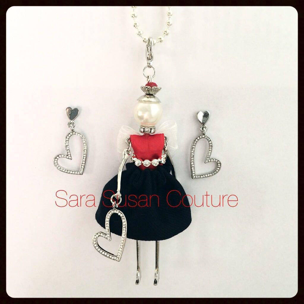 Collana con bambolina e orecchini a cuore – My Little Doll by Sara Susan Couture – Modello Tommy H.Girl