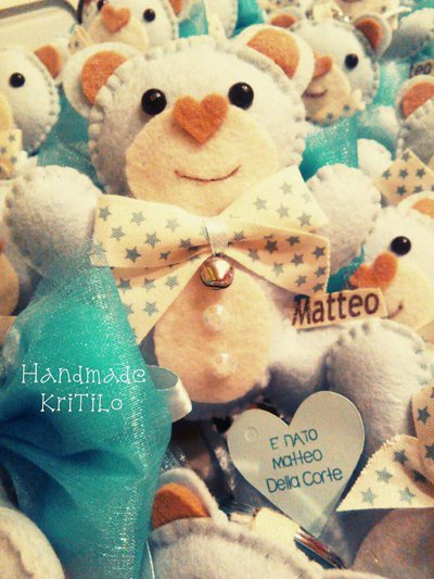 Bomboniera orsetto teddy innamorato portachiavi Handmade KriTiLo