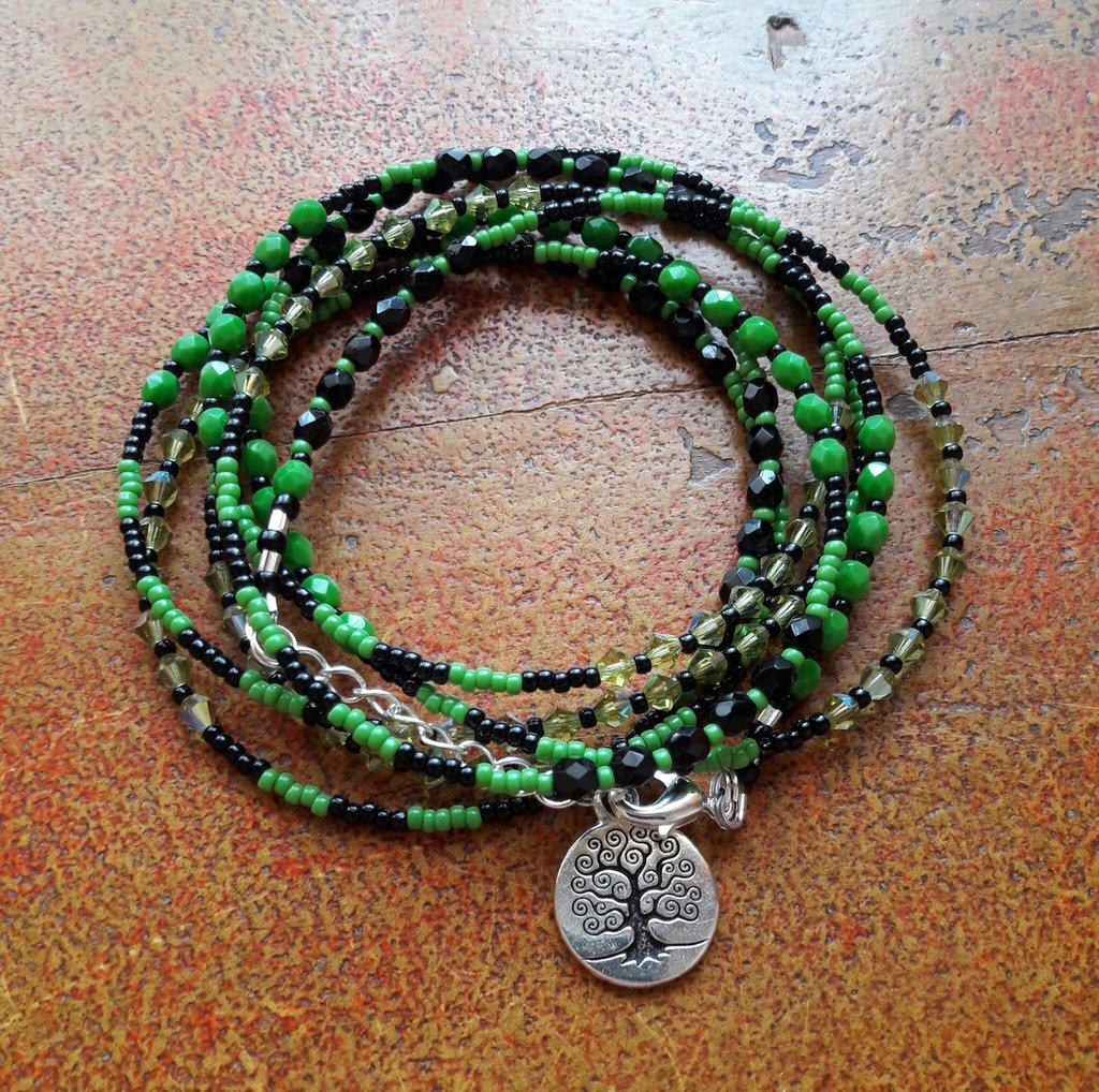 Bracciale boho verde nero, bracciale multi filo, bracciale donna, bracciale ragazza, albero della vita