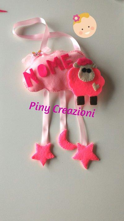 Fiocco nascita nuvoletta rosa con pecorella