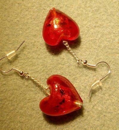 Orecchini cuore rosso