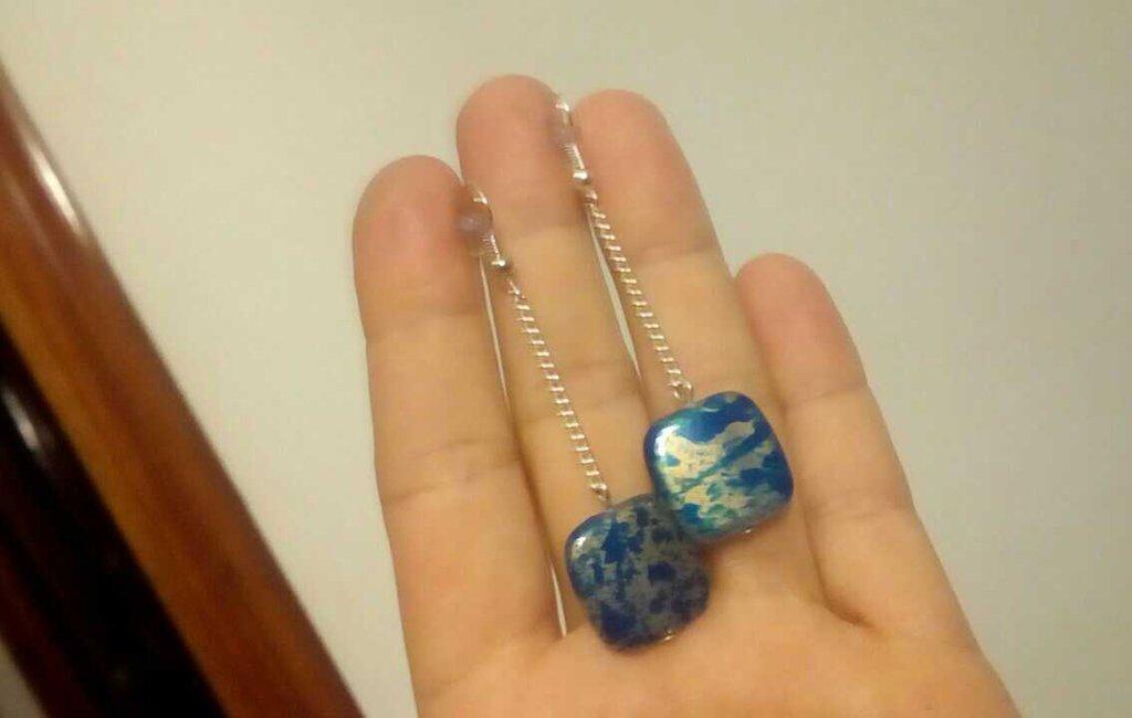 Orecchini pendenti quadrato azzurro