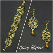 LUCKY CHAIN: Bracciale e Orecchini in tessitura di perline con cristalli