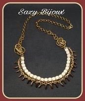 Collana AFRIQUE in tessitura di perline e mezzi cristalli