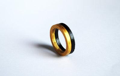 Anello nero e oro, anello minimalista, anello moderni