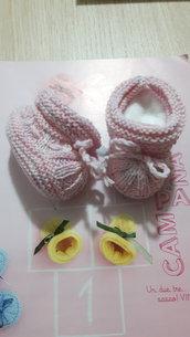 Scarpine bimba neonato melangè bianco/rosa/lilla