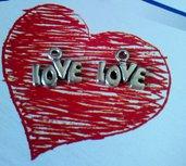 LOVE - CHARM IN ARGENTO TIBETANO -  AMORE - CIONDOLO