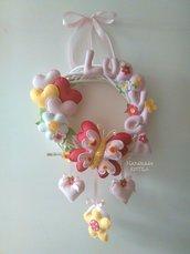 Ghirlanda fiocco nascita primavera fiori e farfalla handmadekritilo