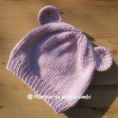 Berretto cappello per bambina - pura lana merino rosa - fatto a mano - con orecchie!