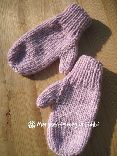 Manopole, guanti bambina in lana merino, fatti a mano, lavorati a maglia