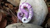 Collana sigillo elfico fata bianco lilla fiore fatto a mano artigianale