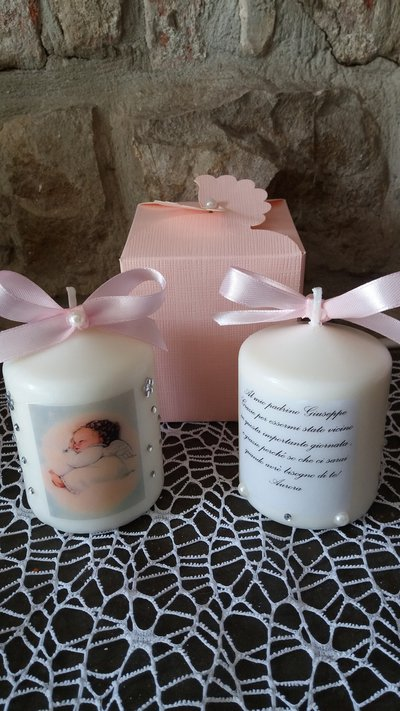 bomboniera battesimo comunione candela personalizzata con dedica