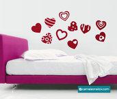 cuori fantasia - adesivo murale - sticker da parete - love