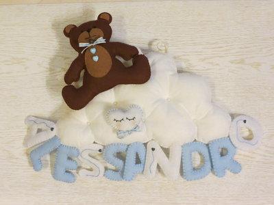 Fiocco nascita con orsetto su nuvola