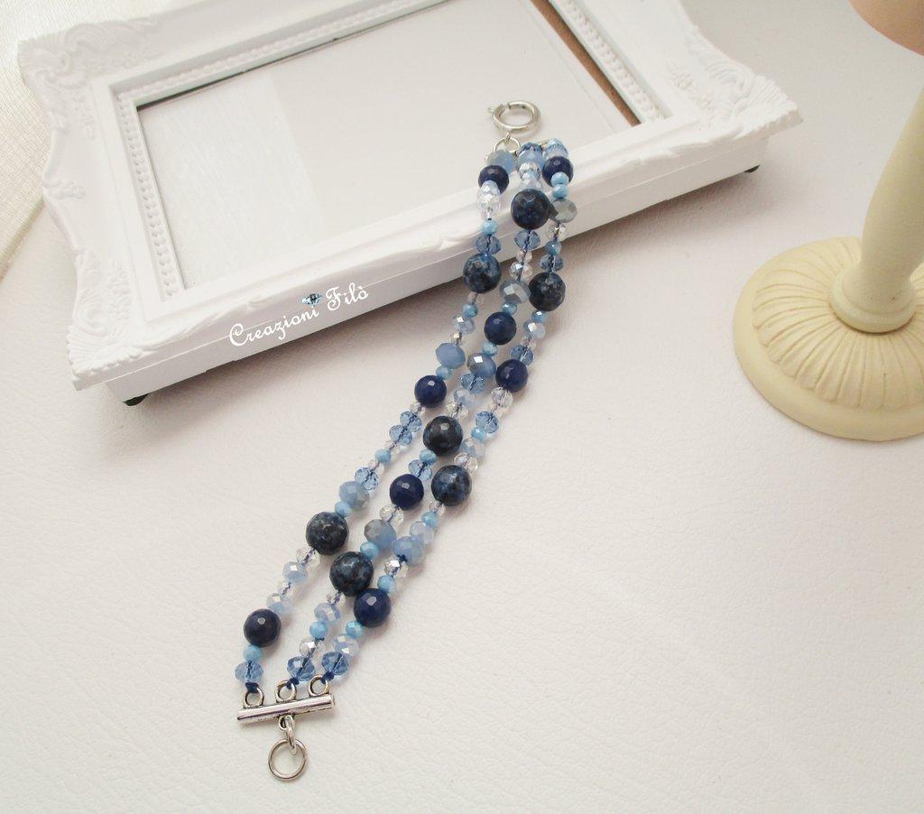 Bracciale con pietre  e cristalli blu