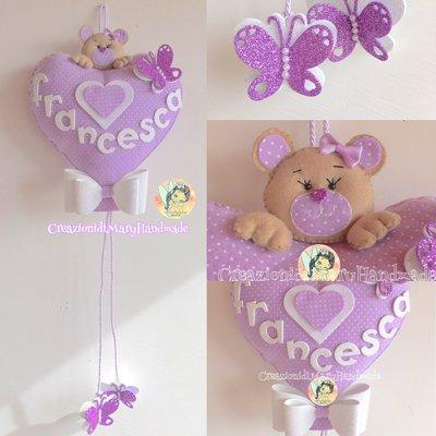 Fiocco Nascita palloncino a cuore con orsetto