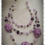 Girocollo Quarzo Rosa, Ceramica e Cristalli