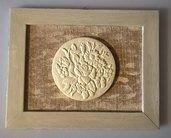 Quadro decorazione shabby chic con fregio in legno