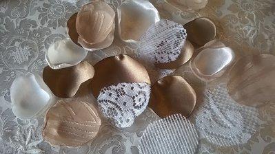 250 petali di stoffa, petali finti, decorazione matrimonio, mix marrone bianco beige