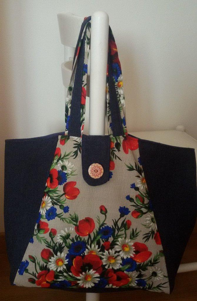 Borsa tessuto fiori e jeans c/pochette