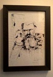 Quadro dipinto ritratto a china Rodin
