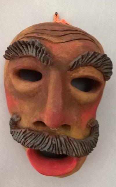Scultura terracotta viso d'uomo Il Baffo