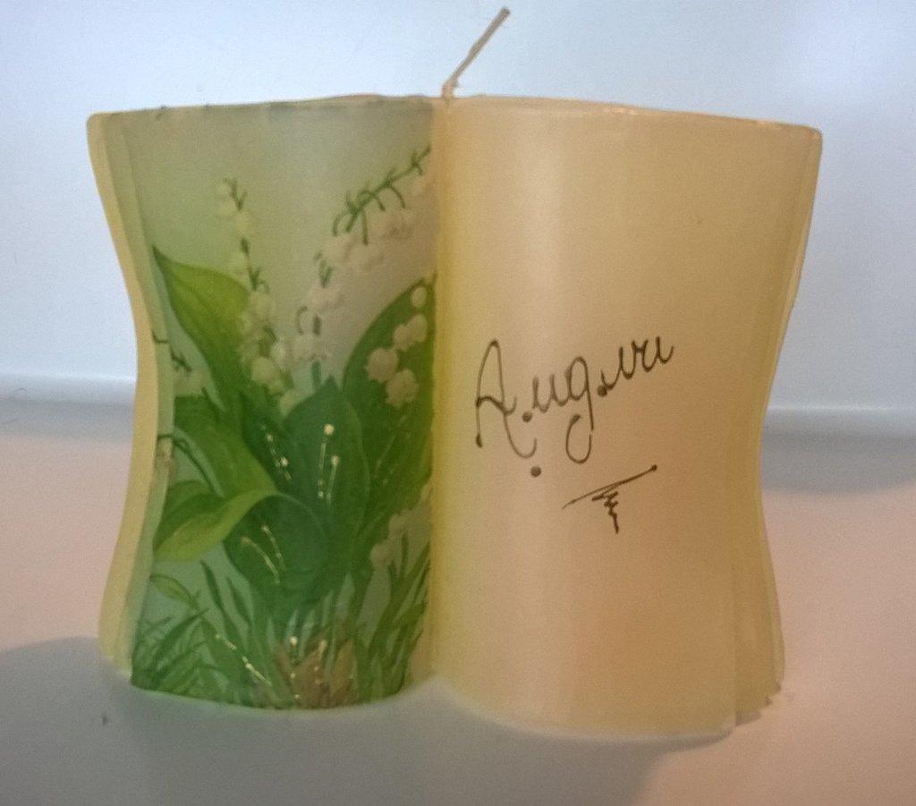 Candela artigianale decorata scritta Auguri