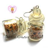 Orecchini bottigliette Cookie - biscotti con cioccolato - handmade kawaii