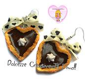 Orecchini Crostatine al cioccolato con panna - piccola pasticceria kawaii