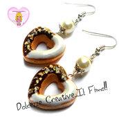 Orecchini donut - ciambelle a forma di cuore con cioccolato e glassa - fimo