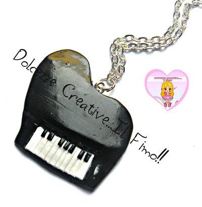 Collana pianoforte a coda - idea regalo musicista - kawaii - handmade